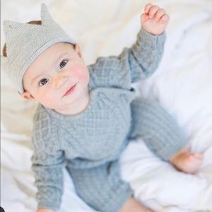 Egg Baby Gray Cable Knit Sweater Romper